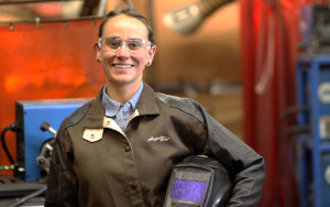 Aleasha Hladilek has been a welder at Northstar Aerospace and a welding instructor at Wisconsin Indianhead Technical College.   Photo Credit: Wisconsin Indianhead Technical College