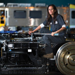 Ami Rasmussen of Los Angeles is an interior assembly foreman at the Kinkisharyo railcar factory in Palmdale, California.  Photo Credit: Deanne Fitzmaurice