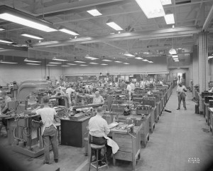 Machinists and toolmakers use precision machinery to make experimental engine parts, Cleveland, Ohio 1946. Photo credit: NASA